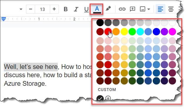 Change Text Color Google Docs