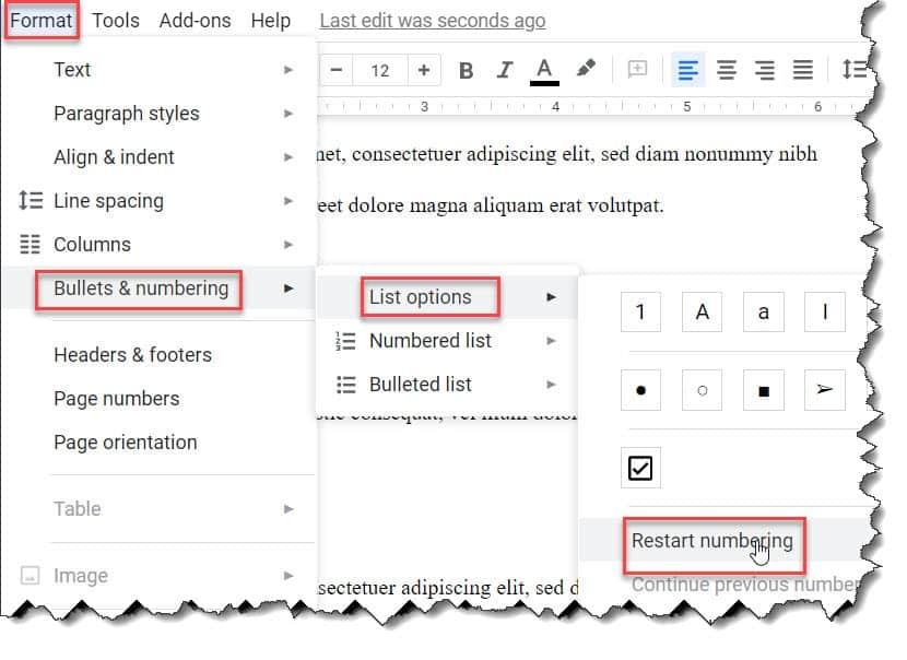 Google Docs Numbered List Problems
