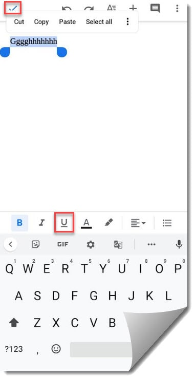 How do you underline text in Google Docs on Android