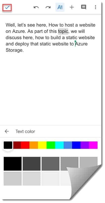How to Change text color google docs app