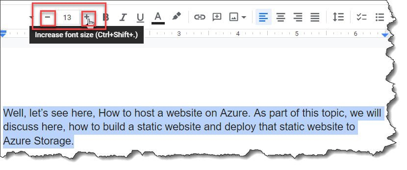 How to change font size in Google Docs