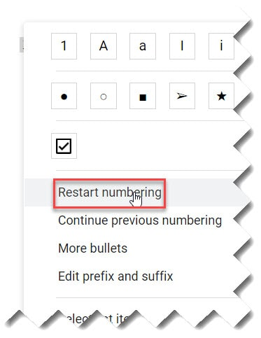 How to continue numbering in Google Docs