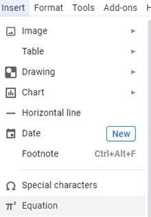 How to insert fraction in Google docs using 'Equation' editor