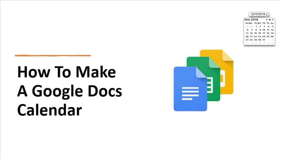 How to make a google docs calendar