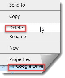 How to remove Google Drive from windows explorer sidebar using the Create Library option