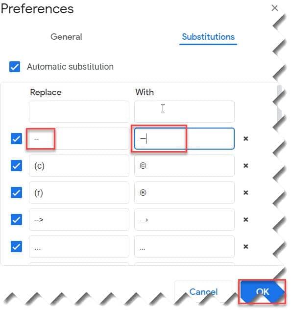 create Em Dash Google Docs