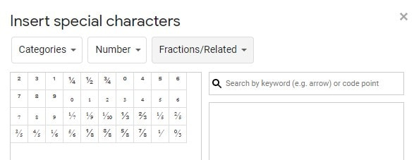 write a fraction using special characters in Google docs
