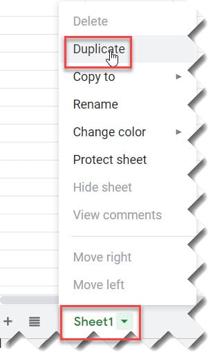 How to duplicate a page in Google Sheets