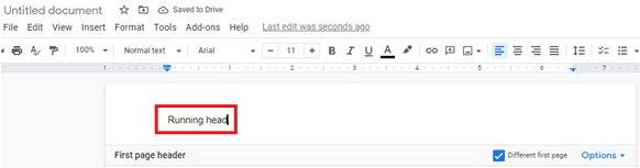 How to add a running head in Google docs