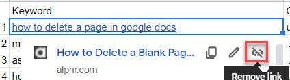 Remove Hyperlink In Google Sheets