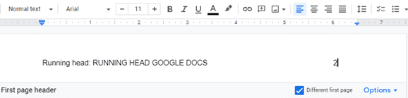 add a running head Google docs