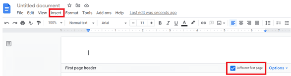 How do you add a running head and page number in Google Docs?