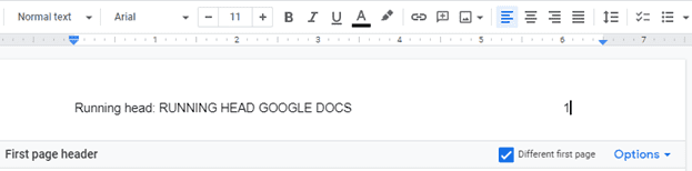 steps to add a running head in Google docs